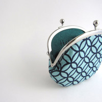 Frame Coin Purse-navy circles on light blue