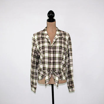Long Sleeve Plaid Shirt Women Button Up Top Linen Blouse XL Peplum Tie Waist Shirt White Brown Jones New York Womens Plus Size Clothing