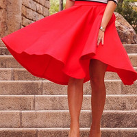Red Ruched High Waist Skater Skirt
