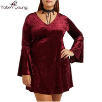 Plus Size Women Velvet Dress Autumn Flare Long Sleeve V-neck Slim Skater Mini Party