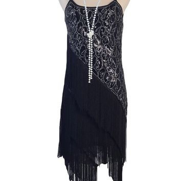 PrettyGuide Women's 1920S Paisley Art Deco Sequin Tassel Glam Party Gatsby Dress