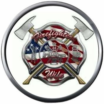 Thin Red Line Maltese Cross Shield Wife USA Axe Proud Firefighter Protect Serve  18MM - 20MM Snap Charm New Item