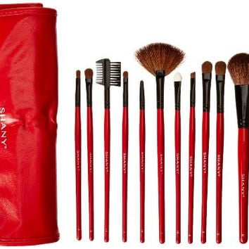 12 pc Natural Goat and Badger Cosmetic Makeup Brush Set Red Pouch Contour