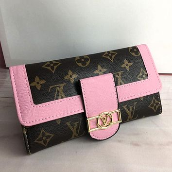 LV Louis Vuitton Fashion Women Leather Handbag Wallet Purse Pink