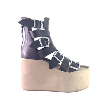 Hopefully named for Achilles-H by Jeffrey Campbell is fashionable and cool, this sweet genuine suede covered wedge sandal has got all the quirk, height and comfort you will ever need. Featuring leather upper, four buckle straps with adjustable buckle closu