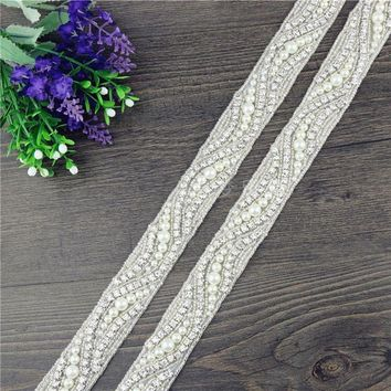 1 yard Rhinestone Pearl Trim Crystal Trim Bridal Beaded Wedding Applique Belt