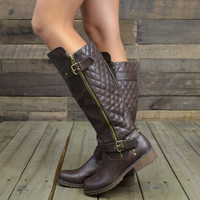 Roaslie Quilted Brown Leather Riding Boots