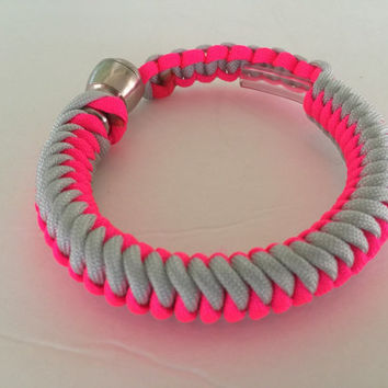 Grey and Neon Pink 550 Paracord Stealthy Hidden Pipe Bracelet w/ FREE SHIPPING