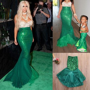 Princess Sequins Maxi Tail long green Skirt Little Mermaid Ariel