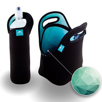 Turquoise Nordic By Nature Bundle of Insulated Black Neoprene Lunch Bag and Water Bottle Sleeve | Turquoise Designer Pattern on the Inside | Heavy Zipper | Lightweight | Washable | Holds Big Lunches