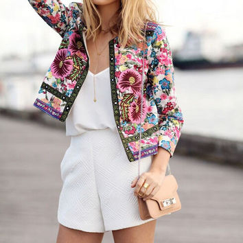 FASHION PRINTED LONG-SLEEVED CARDIGAN JACKET