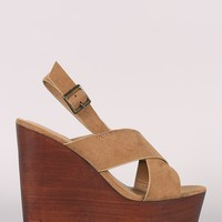 Bamboo Wide Crossing Straps Wooden Wedge