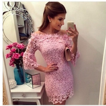 fashion women Sexy pink lace dress half sleeve lace Dress mini vestidos de venda Women Slash neck Party Dresses K01 = 1956534724