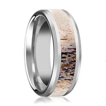 Ombre Deer Antler Tungsten Ring For Men With Beveled, Polished Finish - 8mm