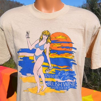 70s vintage deadstock t-shirt taylor BLUSH WINE bikini music beach tee shirt Large XL beige party