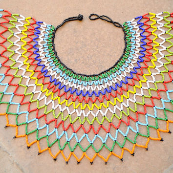 Zulu web necklace,African beaded bib necklace,African statement collar necklace,African beaded shoulder necklace,Traditional Zulu jewellery