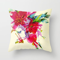 exploded floral Throw Pillow by Clemm