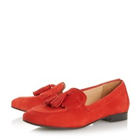 DUNE LADIES GENOA - Tassel Trim Flex Loafer Shoe - red | Dune Shoes Online