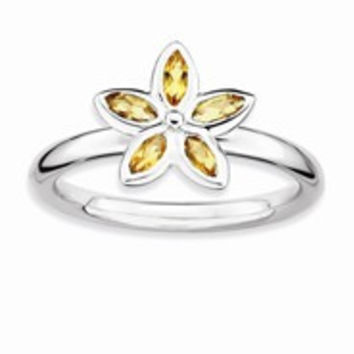 Sterling Silver Citrine Flower Ring