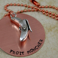 "Handstamped Copper Necklace with Banana Charm  Vegan Jewelry ""Fruit Muncher"""