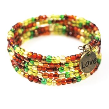 Love Charm Bright Colored Wrap Around Bracelets