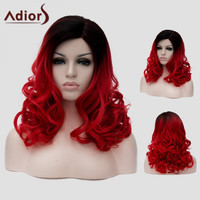Attractive Black Red Gradient Capless Long Fluffy Wavy Synthetic Universal Wig For Women