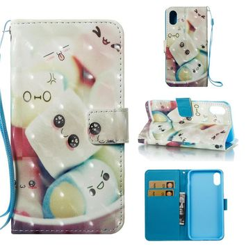 Giraffe Cotton Candy Luxury Leather 3D Painted Wallet Phone Case For iPhone X Cover Flip Mobile Phone Shell For IPhoneX