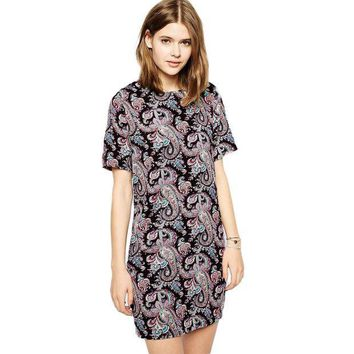 PEAP9GW 2017 New Vintage Women Shift Dress Paisley Print Short Sleeve Back Zipper Summer Boho Dress Plus Size Vestidos Black