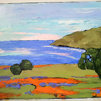 Impressionist Painting CALIFORNIA Plein Air Art Pacific Ocean POPPIES Seascape Landscape Wildflowers 11x14 Lynne French FREE Shipping
