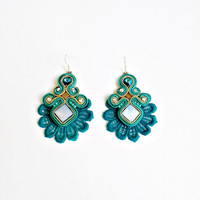 Soutache jewelry earrings Handmade jewelry Soutache Jewelry OOAK Soutache earrings Blue lacy soutache earrings