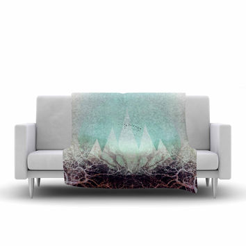 "Pia Schneider ""TREES Under MAGIC MOUNTAINS VI"" Teal White Fleece Throw Blanket"