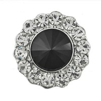 Black and Clear Rhinestone Bling Snap 20mm for Snap Jewelry