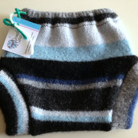 Small Blue Striped Recycled Wool Soakers :: Someday Sarah Online Shop