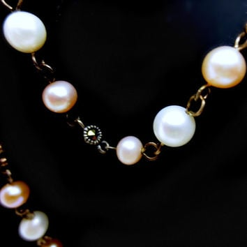 Vintage 55 inch Sterling Silver Chain - White and Rose Freshwater Pearls - Set Marcasite Stones - .925 Sterling Silver Tag - Classic Beauty