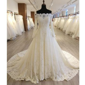 Off Shoulder Full Sleeve Wedding Dress A line Luxury Lace Bridal Gown