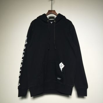 RIPNDIP Harajuku trend brand men and women hooded couple pocket long-sleeved sweater hooded middle finger cheap cat Black