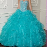Sexy Long Quinceanera Prom Dresses Organza Party Celebrity Dresses Custom Made