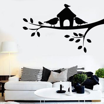 Wall Stickers Vinyl Decal Tree Branch Birds Cage Romantic Decor Bedroom Unique Gift (z2061)