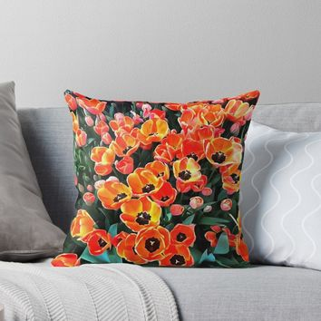 'Bright Red Tulips of Istanbul' Throw Pillow by taiche