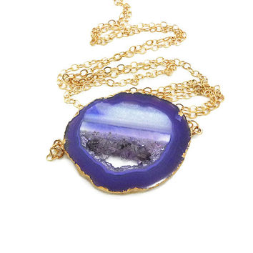 Agate Slice Necklace - Purple Geode Slice Necklace - Geode Jewelry