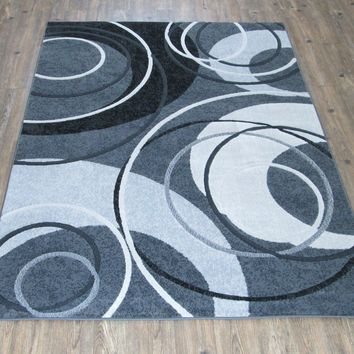 """Silver Grey Black Abstract Faux Wool Area Rug Size 5'4"""" X 7'5"""""""