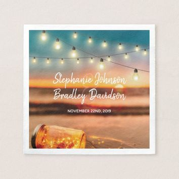 Tropical Sunset Beach Mason Jar Lights Wedding Paper Napkin