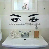 Wall Decals Quote You're never dressed Without Girl Eyes Vinyl Decal Sticker Home Interior Design Art Mural Bedroom Beauty Salon Decor MN478