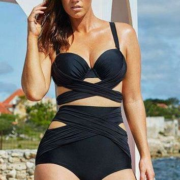 Black Wrap Underwire High Waist Plus Size Bikini