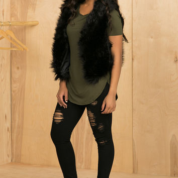 Not So Real Fur Vest (Black)- FINAL SALE