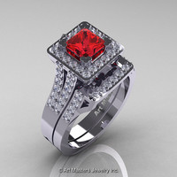 French 14K White Gold 1.0 Ct Princess Ruby Diamond Engagement Ring Wedding Band Set R215PS-14KWGDR