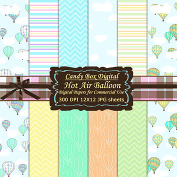 Hot Air Balloon Paper, Hot Air Balloon Digital, Hot Air Balloon Digital Paper, summer paper, summer scrapbook - Commercial Use OK