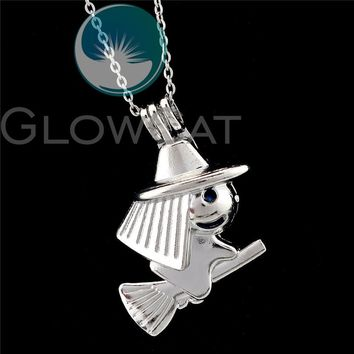 R-K914 Witch Riding Broom Witchcraft Beads Cage Essential Oil Diffuser Aroma Locket Necklace Girl Friend Party Gift