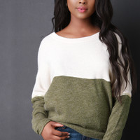 Detachable Sleeves Colorblock Sweater