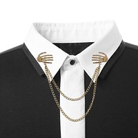 Western Popular Retro Punk Style Brooch Skull Claw Brooch Pins Shirt Collar Pin Collar Chain Alloy Pins And Brooches Men Jewelry